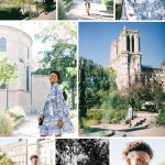 collage of photos with Black Parisian model Lucie Emile in Paris France, test shoot near the Notre Dame